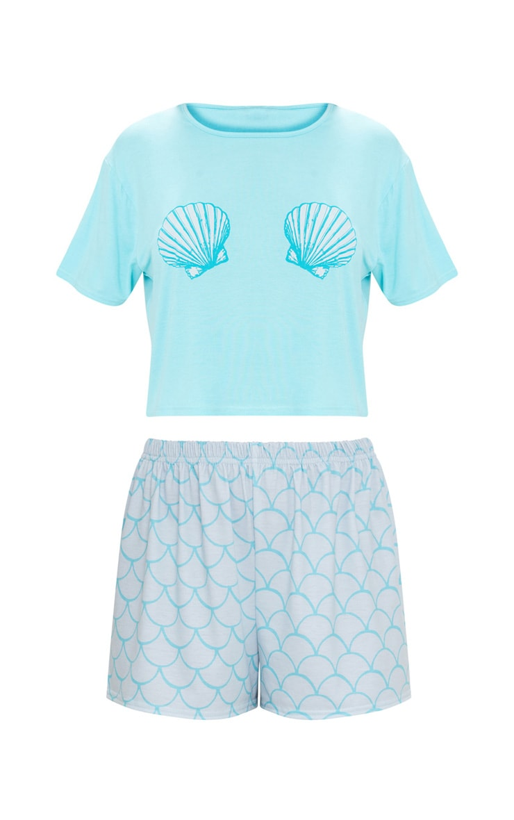Pale Blue Shell Mermaid Short PJ Set  3