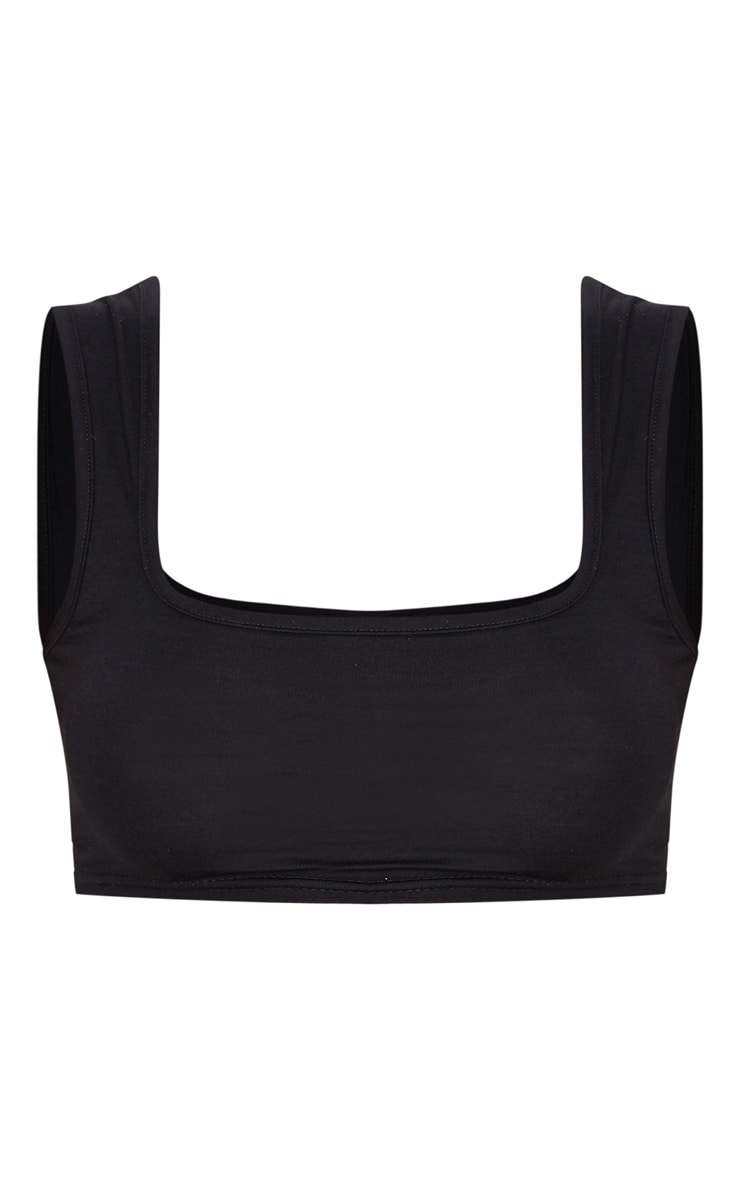 Black Jersey Scoop Neck Crop Top 3