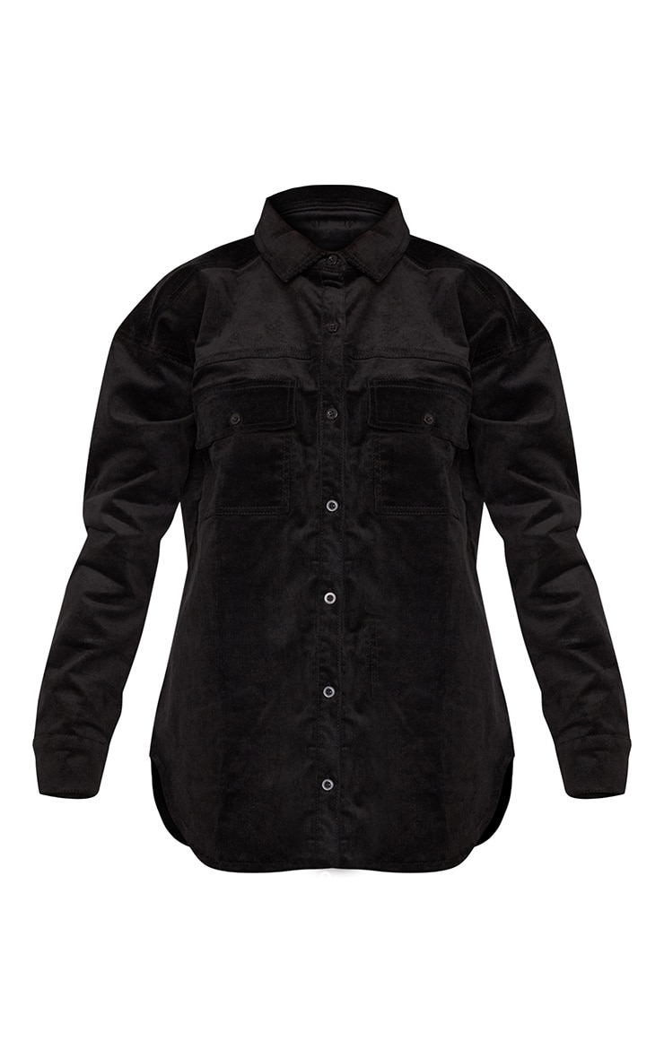 Black Oversized Cord Denim Shirt 3