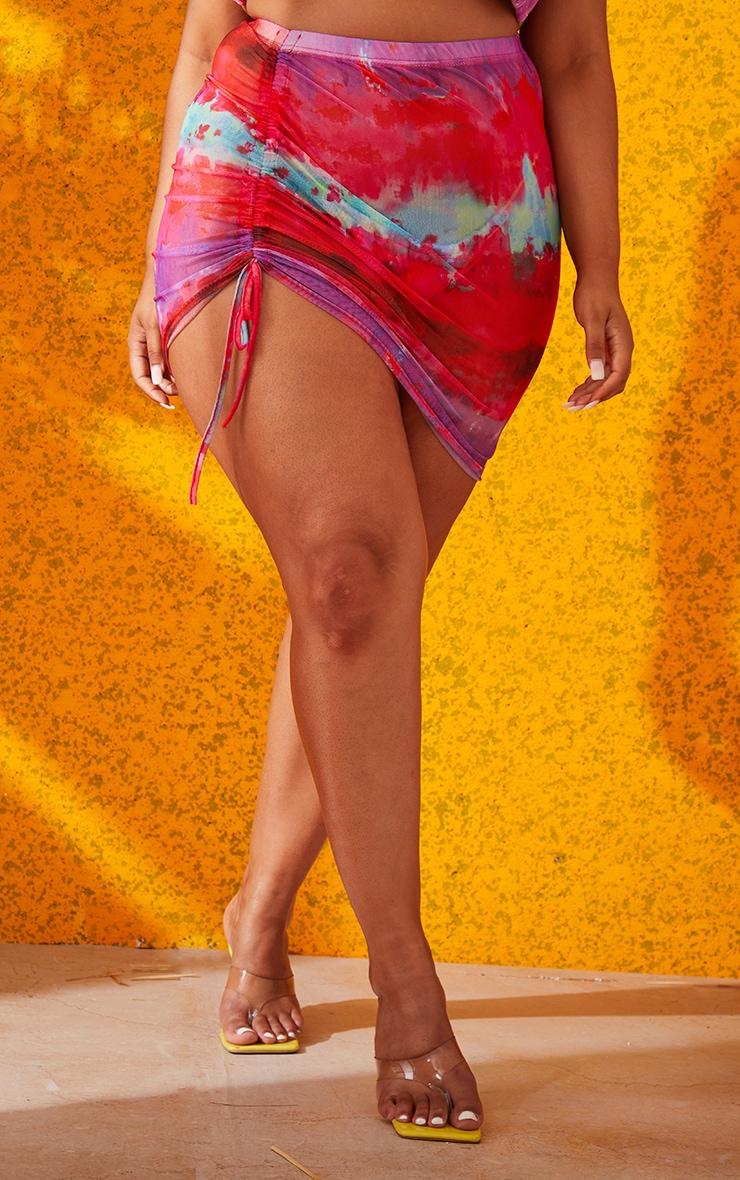 Plus Multi Printed Ruched Mesh Mini Skirt 2
