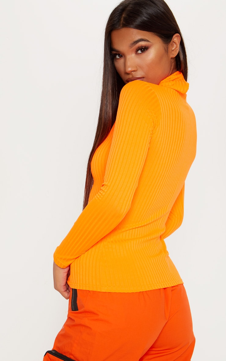 Neon Orange Rib Roll Neck Long Sleeve Top 2