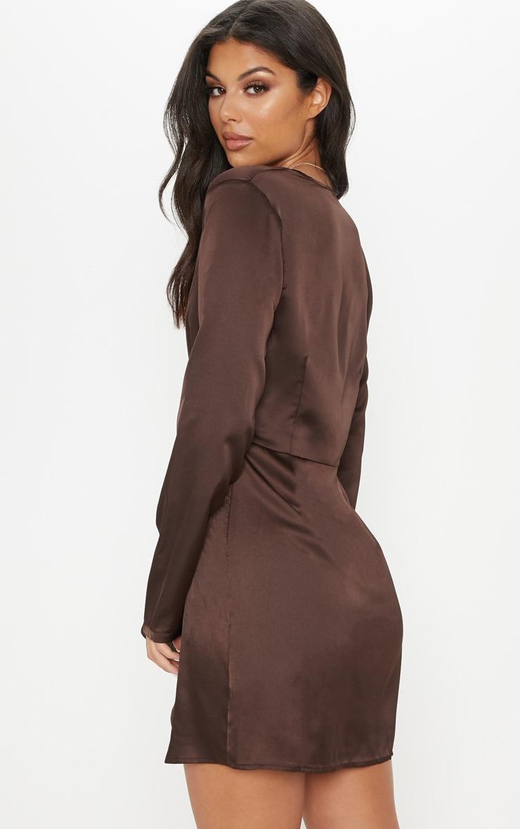 Chocolate Satin Long Sleeve Wrap Shift Dress 2