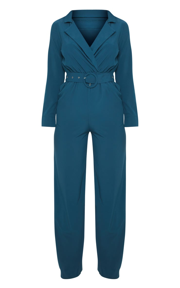 Teal Belt Detail Wide Leg Jumpsuit 3