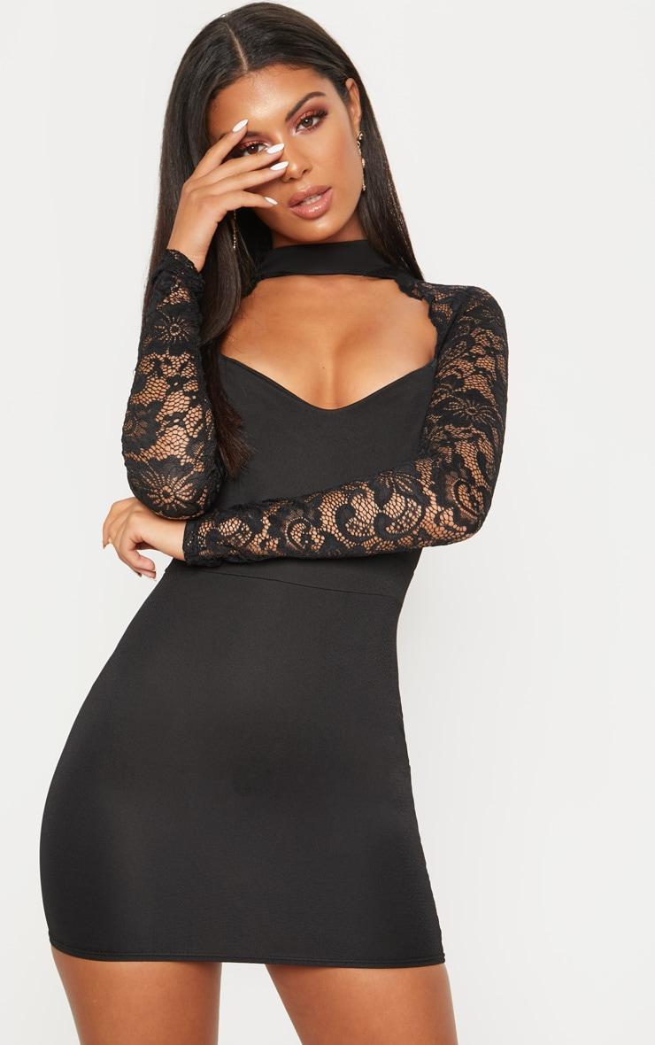 Black Lace Insert Long Sleeve Bodycon Dress 1