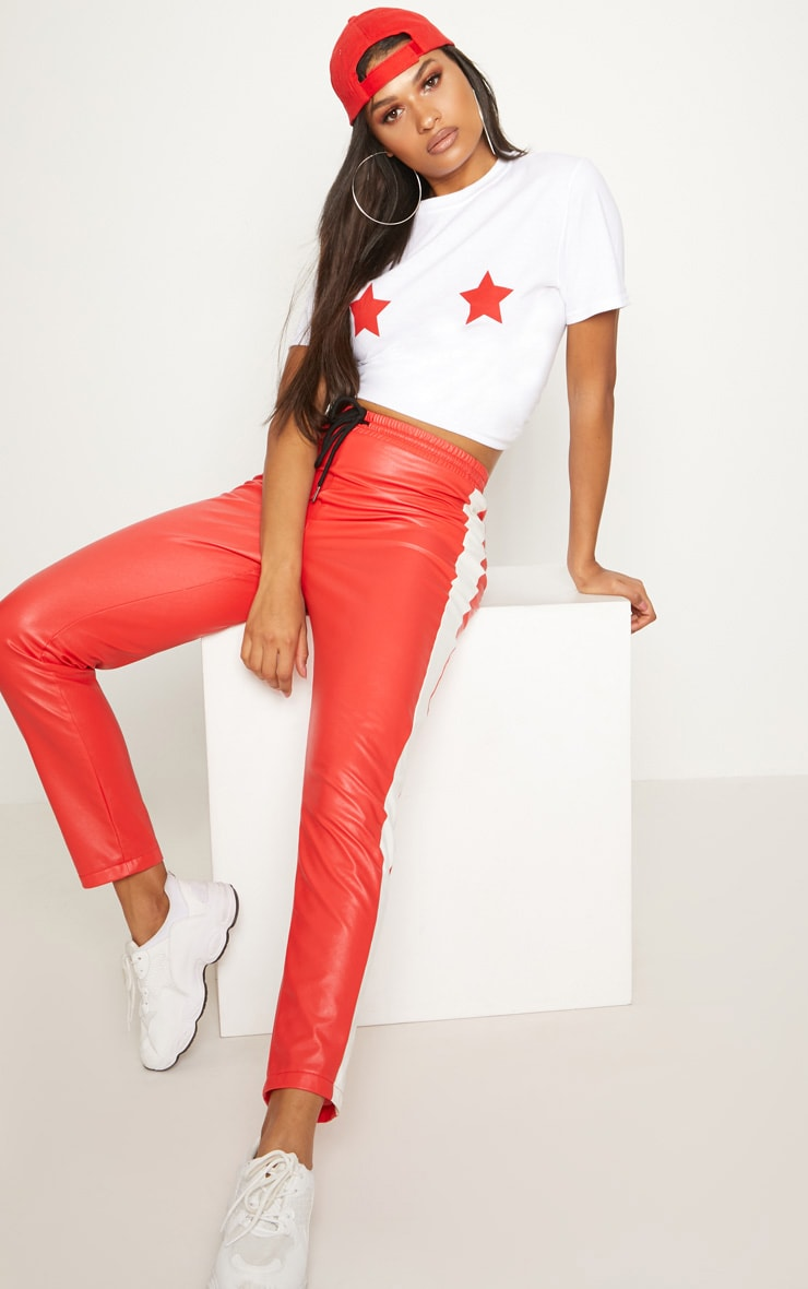 Red Star Print Oversized T Shirt 4