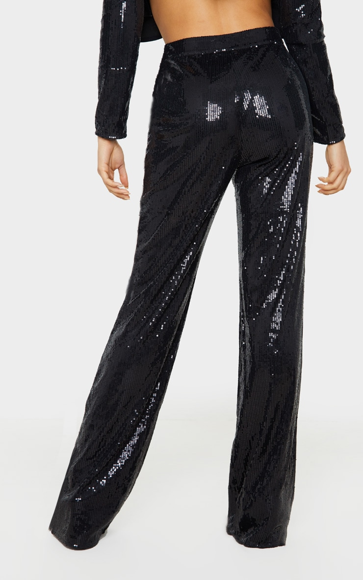 Tall Black Sequin Wide Leg Trouser 4