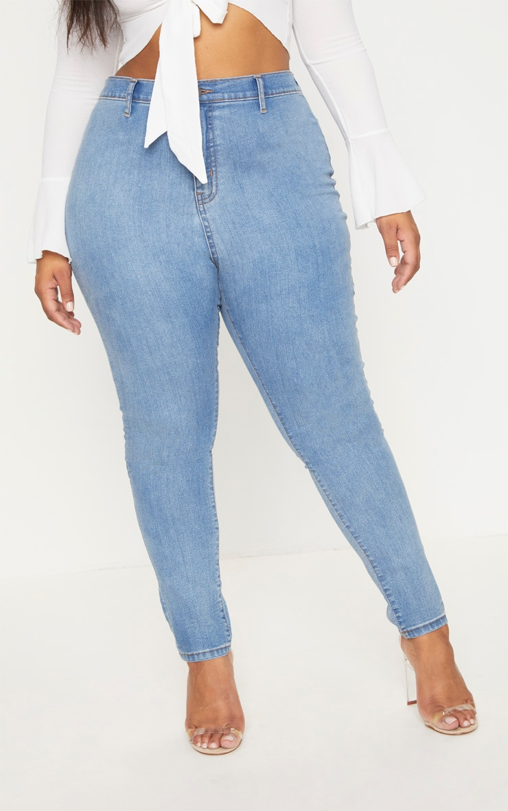 Plus Light Wash High Waisted Skinny Jeans 2