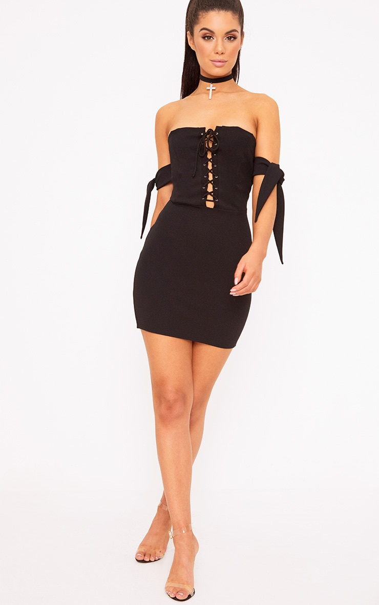 Black Tie Sleeve Corset Bodycon Dress 4