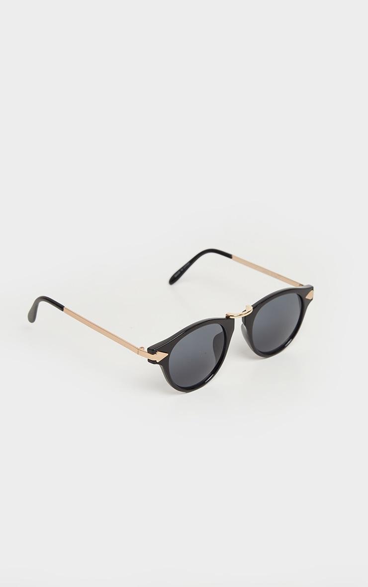Black Rim Gold Bar Aviator Sunglasses 2
