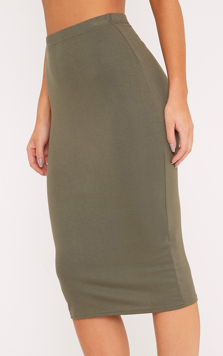 Basic Khaki Midi Skirt 5