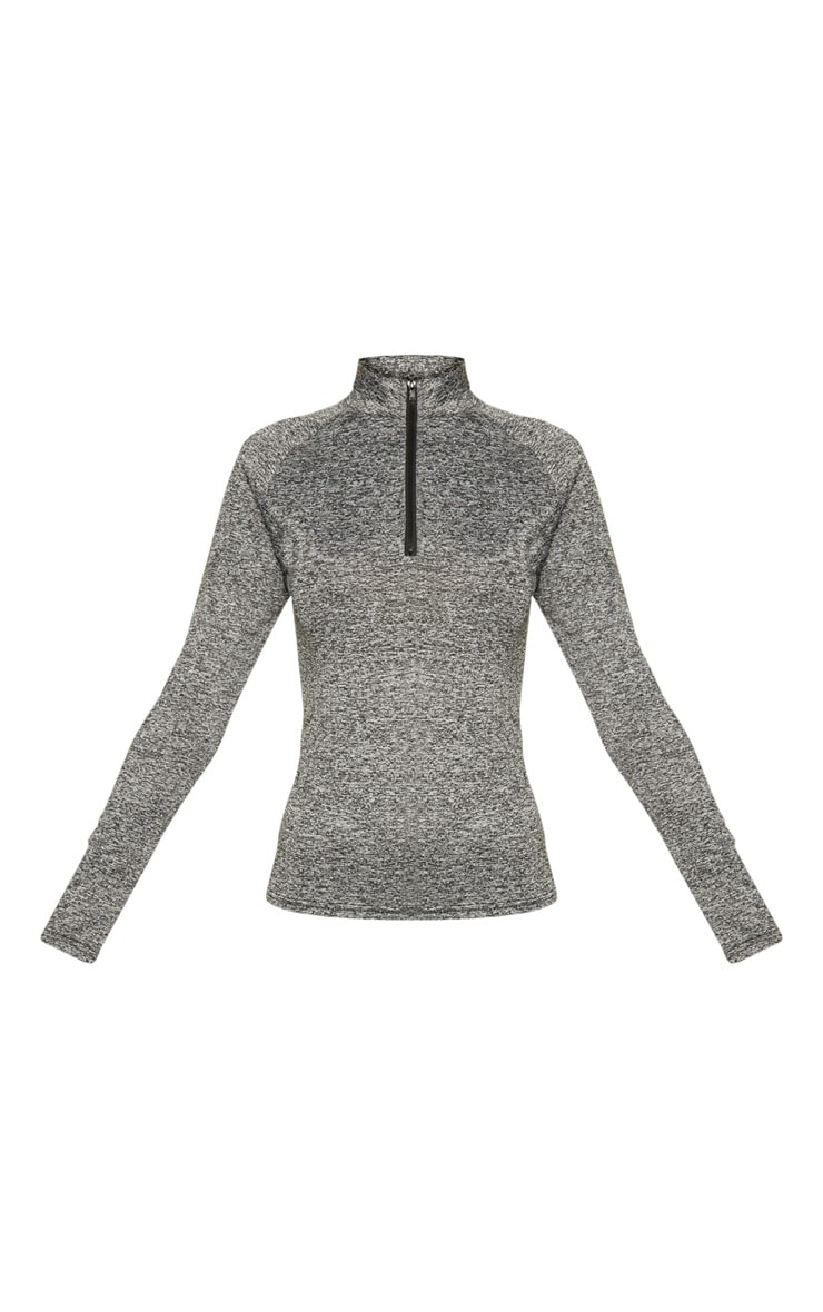 Black Speckle Long Sleeve Zip Up Sports Top 4