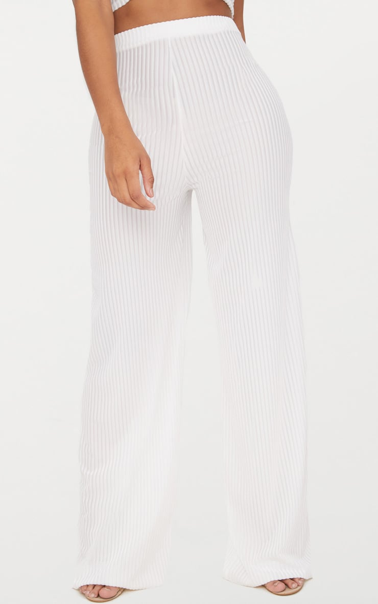Shape White Striped Velvet Wide Leg Trousers 2