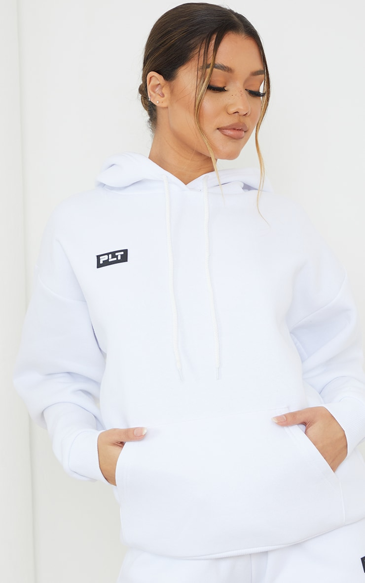 PRETTYLITTLETHING White Badge Detail Oversized Hoodie 4