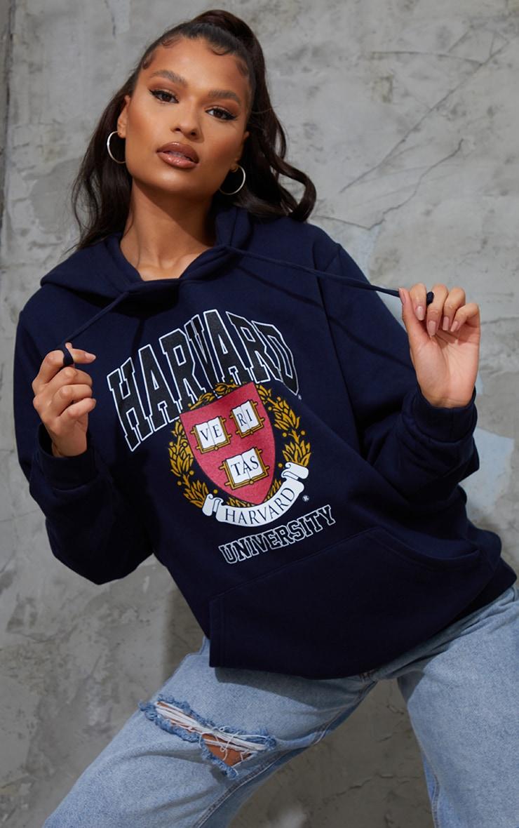 Navy Harvard University Printed Slogan Hoodie 1
