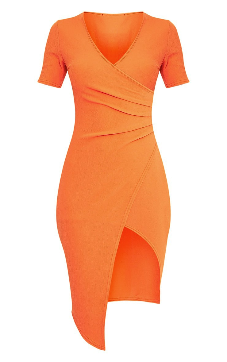 Ivie Orange Short Sleeve Wrap Front Midi Dress 4