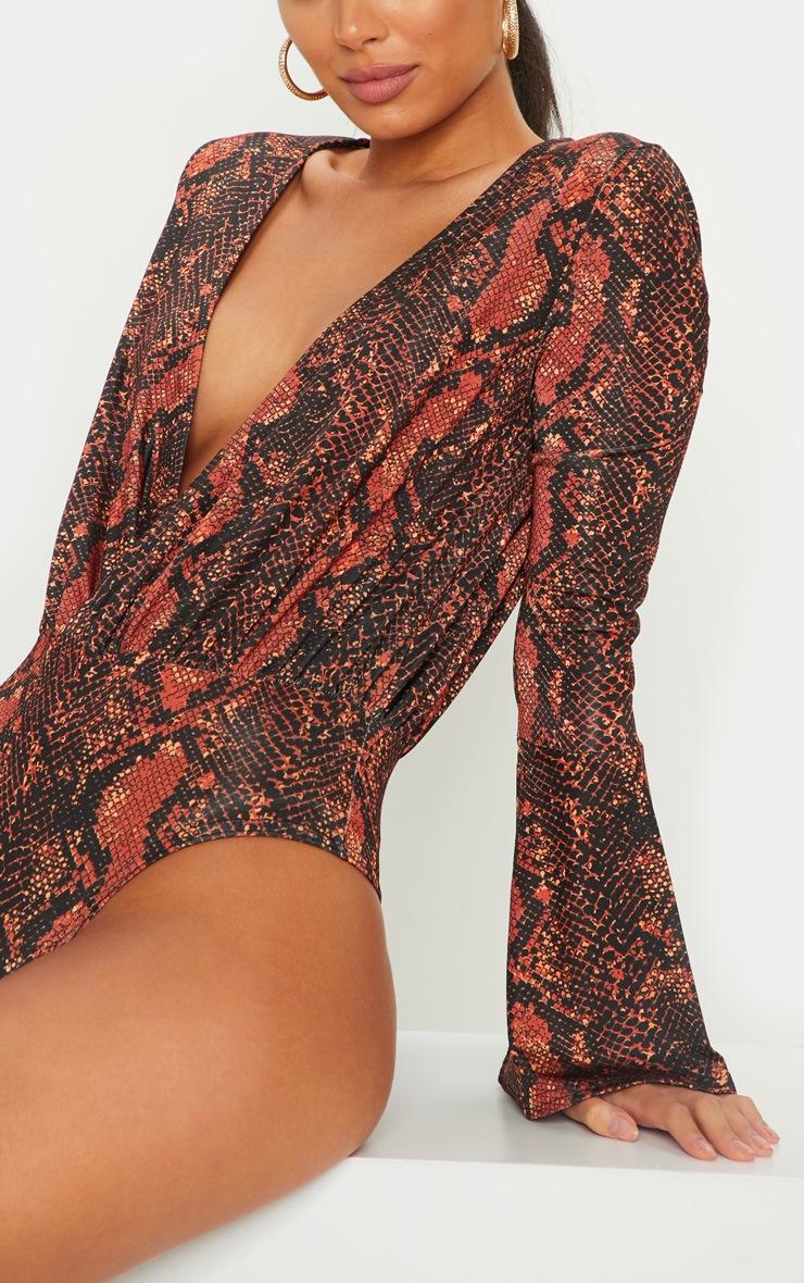 Orange Snake Flared Sleeve Plunge Bodysuit 6