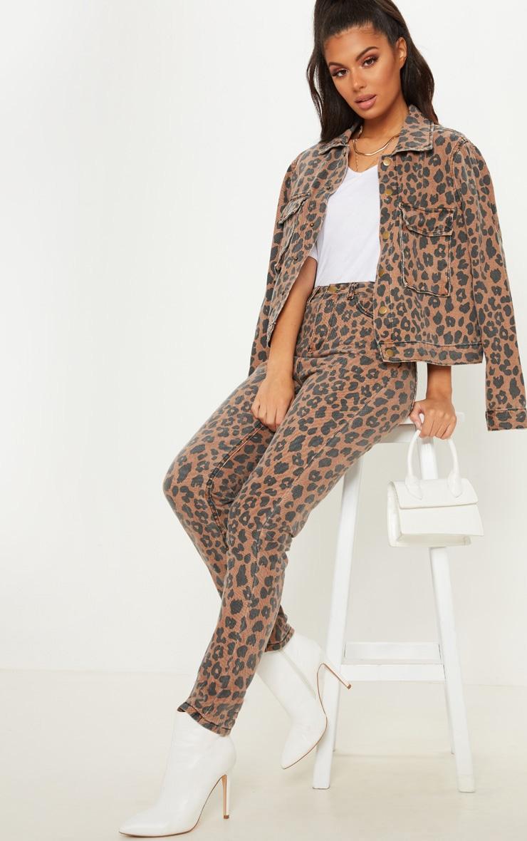 Brown Leopard Print Mom Jean 1