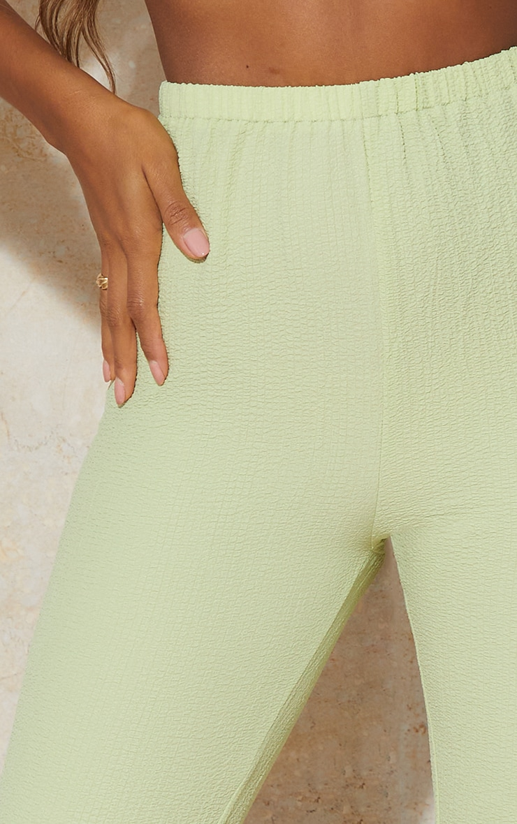 Lime Textured Wide Leg Pants 4