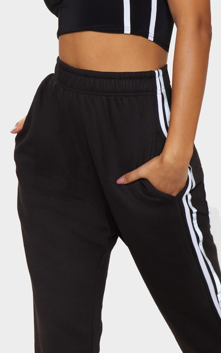 Black Reflective Side Stripe Cuffed Track Pants 5