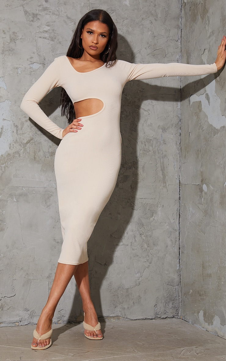 Stone Ribbed Long Sleeve Cut Out Midaxi Dress 1