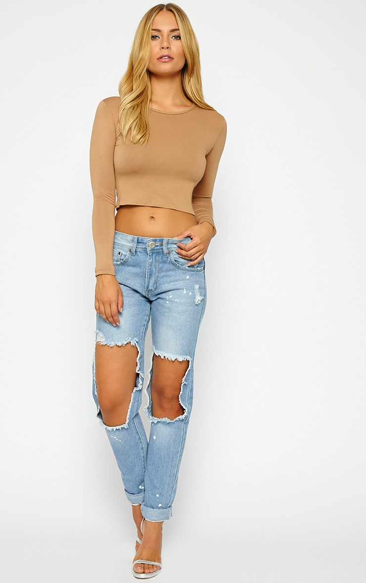 Basic Camel Long Sleeve Crop Top 3