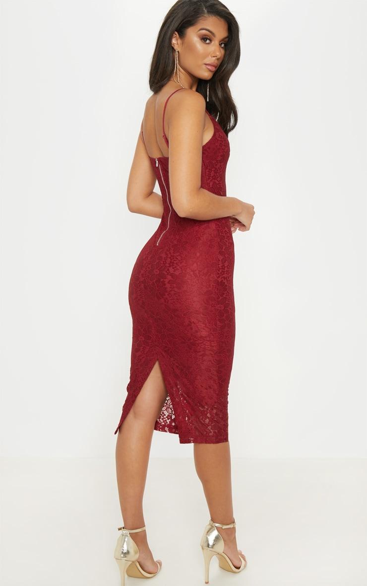 Burgundy Lace Plunge Midi Dress 2