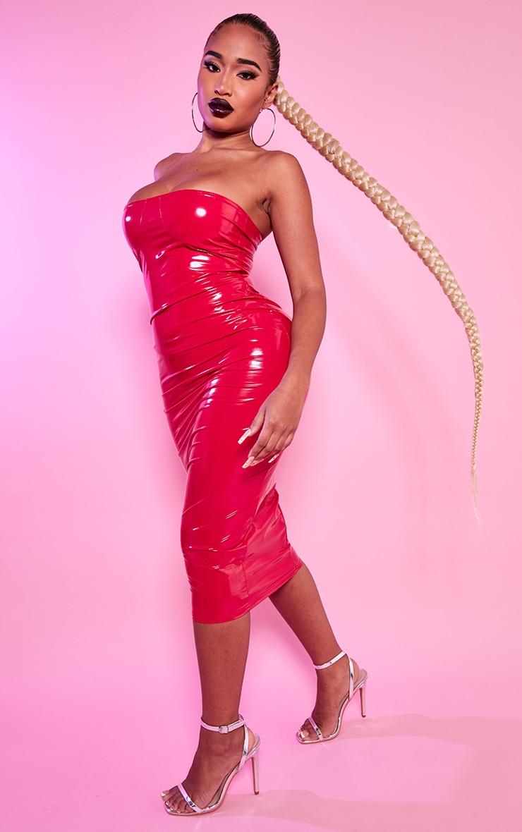 Shape Red Vinyl Cup Detail Midi Dress 4