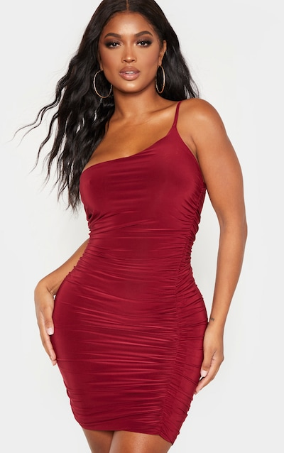 Shape Burgundy Slinky Ruched Asymmetric Bodycon Dress
