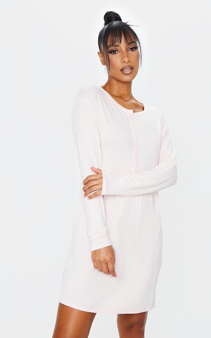 Peach Button Up Detail Long Sleeve Smock Dress 3