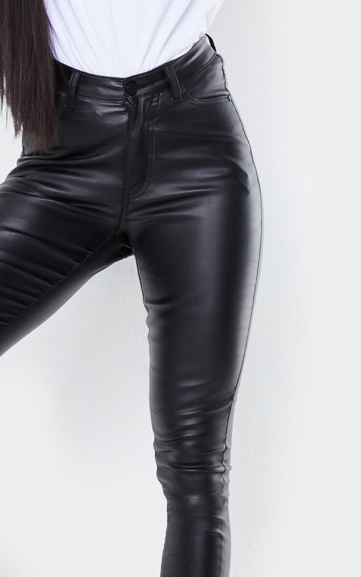 Black Coated Denim Dipped Waistband Skinny Jeans 4