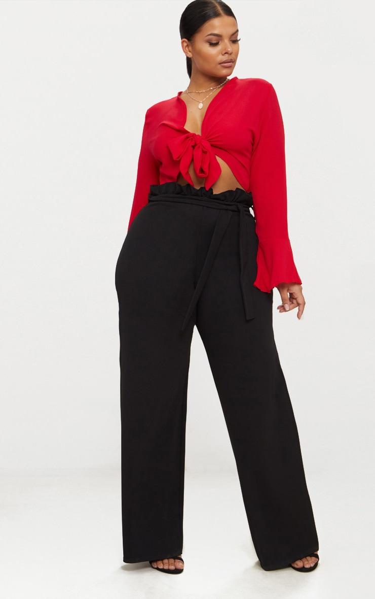 c7c2a861d002e8 Plus Black Wide Leg Pants | Plus Size | PrettyLittleThing USA