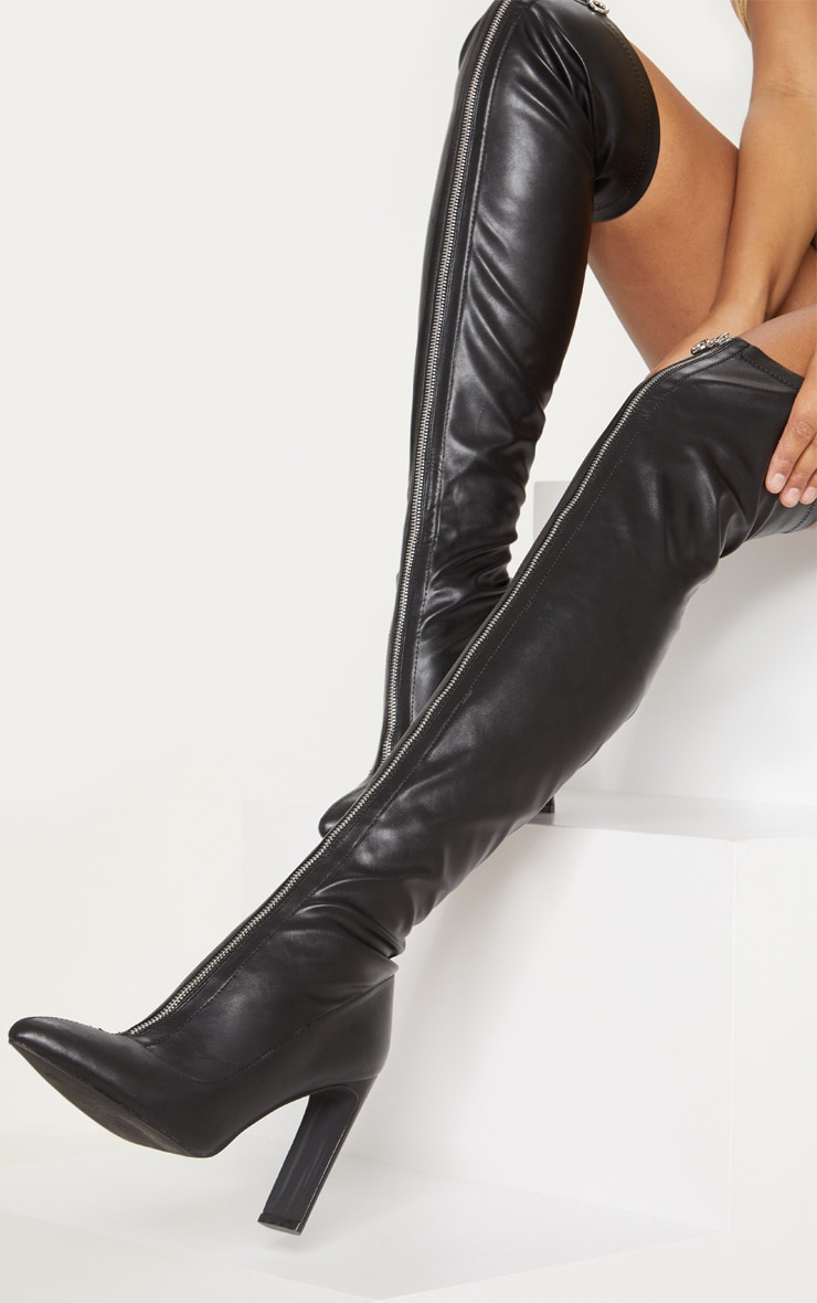 Black PU Zip Front Flat Heel Knee Boot 1
