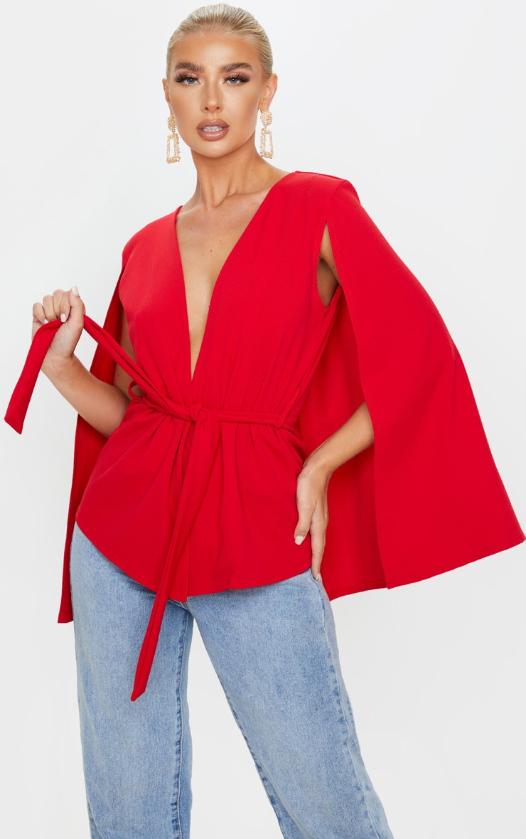 Red Crepe Belted Cape Blazer 4