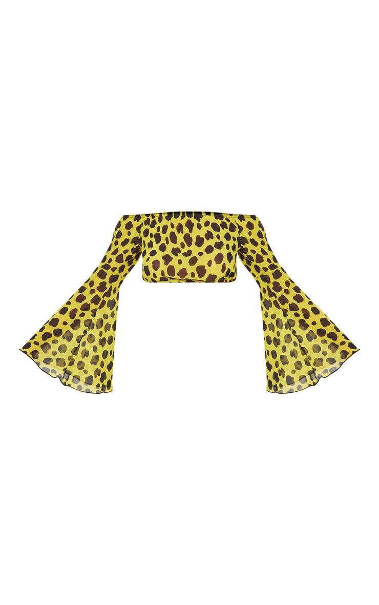 Yellow Cheetah Flare Sleeve Beach Top 3