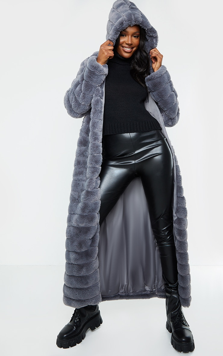 Tall Grey Maxi Bubble Faux Fur Coat 1