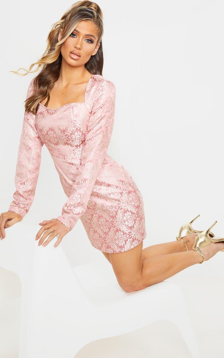 Pink Long Sleeve Jacquard Bodycon Dress 3