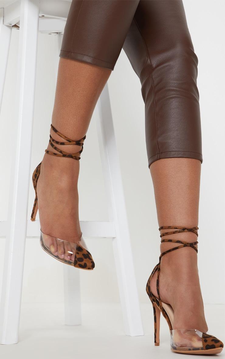 Leopard Clear Ankle Tie Court Shoes 2