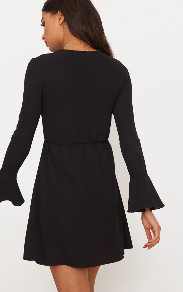 Black Flute Sleeve Tie Front Skater Dress 2