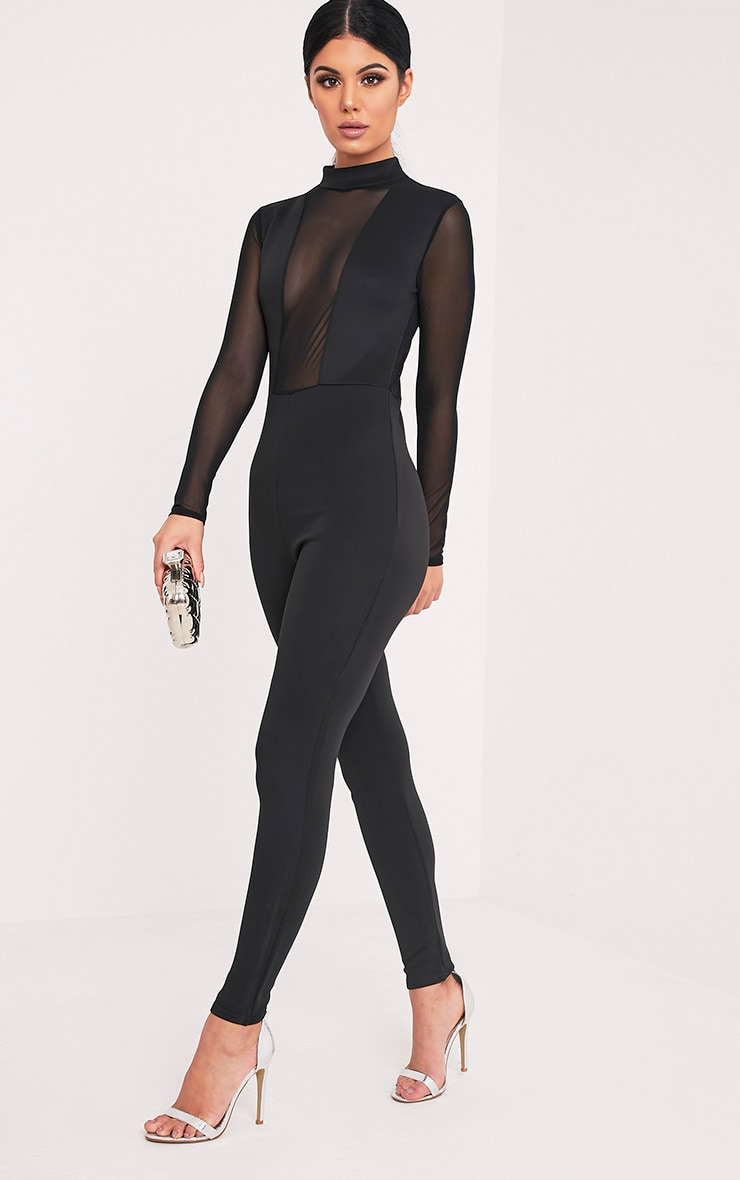 Whitney Black Mesh Scuba Jumpsuit  5