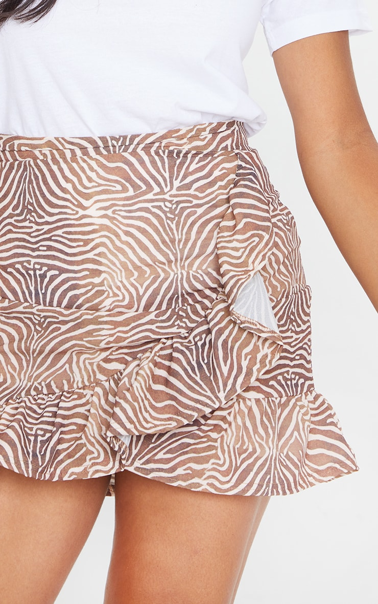 Brown Zebra Frill Hem Wrap Mini Skirt 5