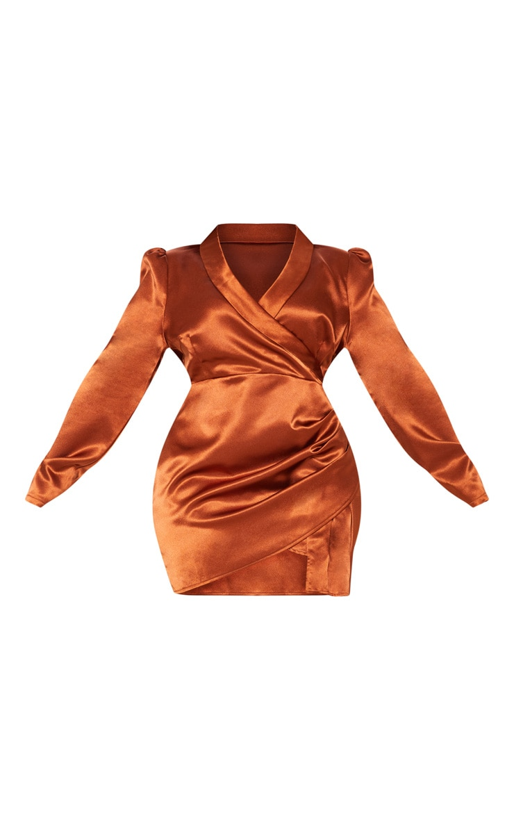 Rust Satin Wrap Over Ruched Bodycon Dress 4