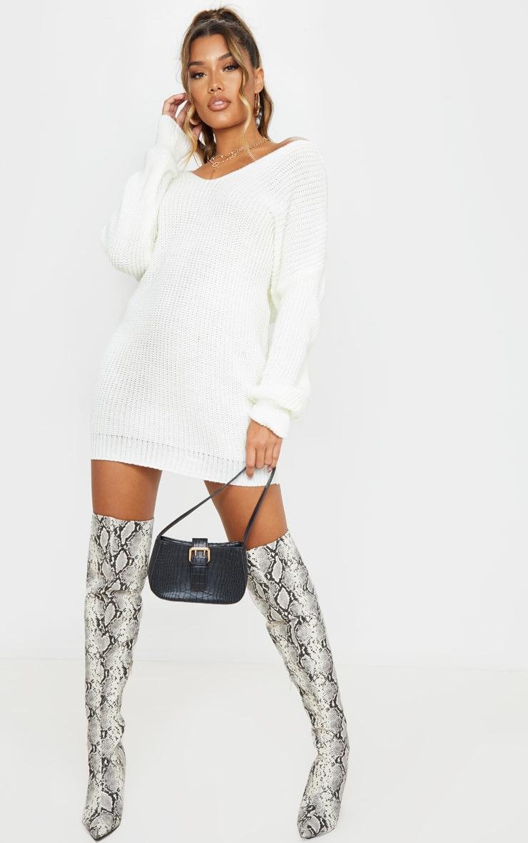 Cream Twist Back Sweater Dress 3