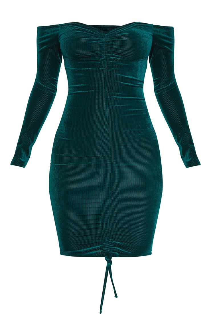 Emerald Green Ribbed Velvet Bardot Ruched Bodycon Dress 3