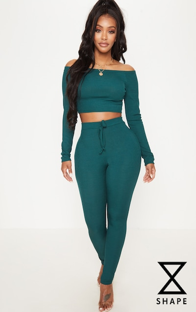 Shape Emerald Green Ribbed High Waist Leggings 3f614b4c6