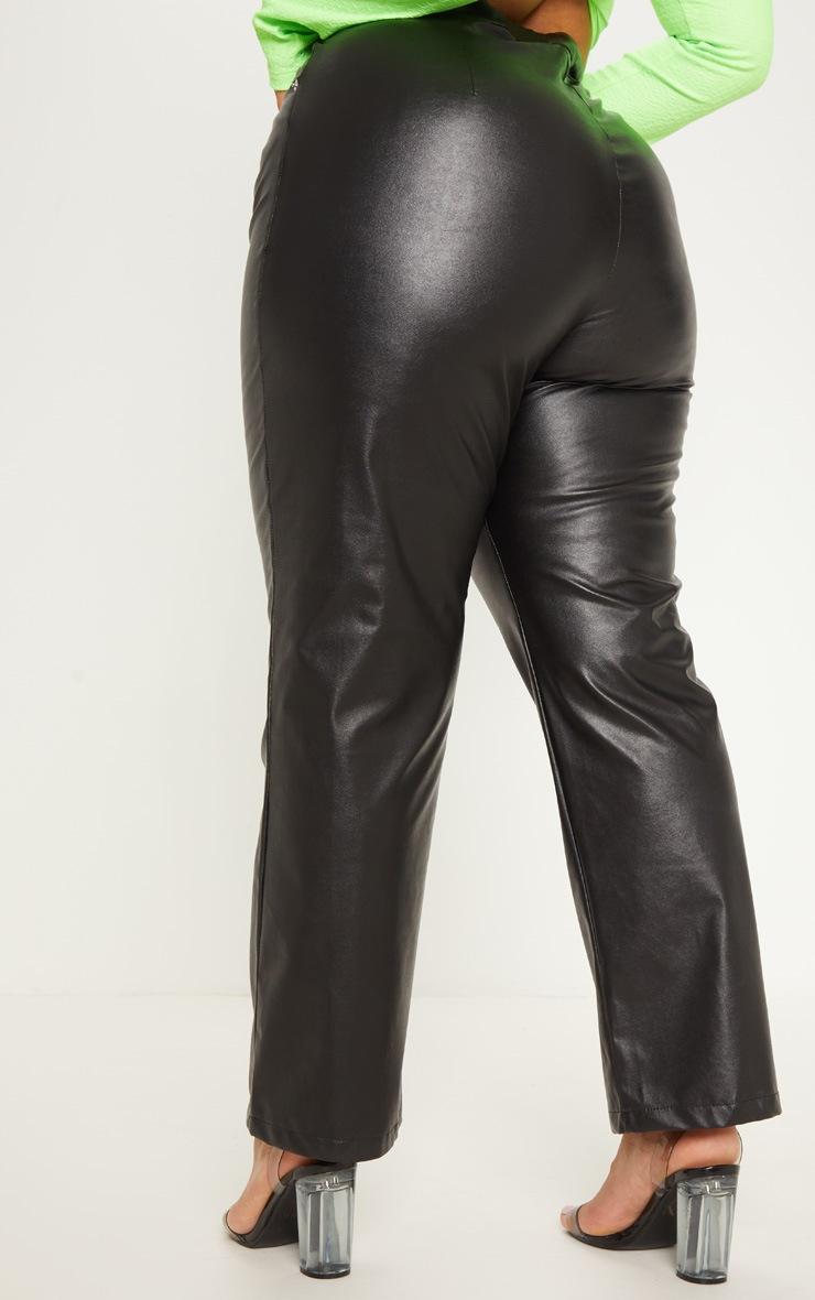 Plus Black Faux Leather Straight Leg Pants 4