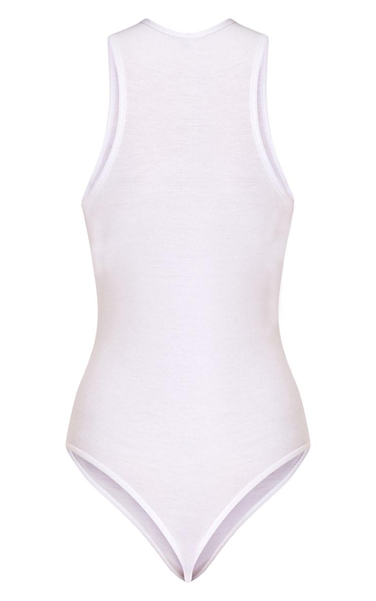 MICHIGAN Slogan White Jersey Thong Bodysuit 4