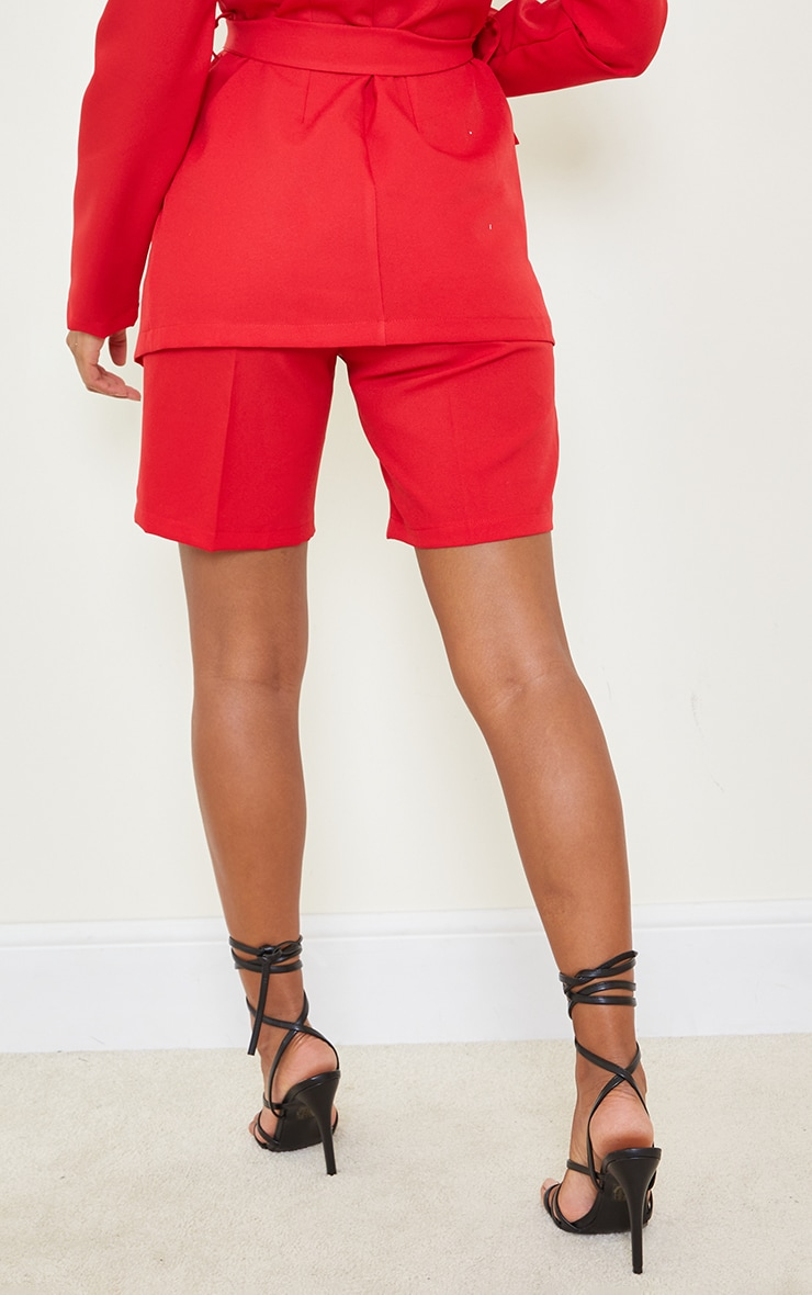 Red Woven Skinny Longline Shorts 3