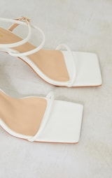 White Pu Flare Low Heel Extreme Square Toe Sandals 4
