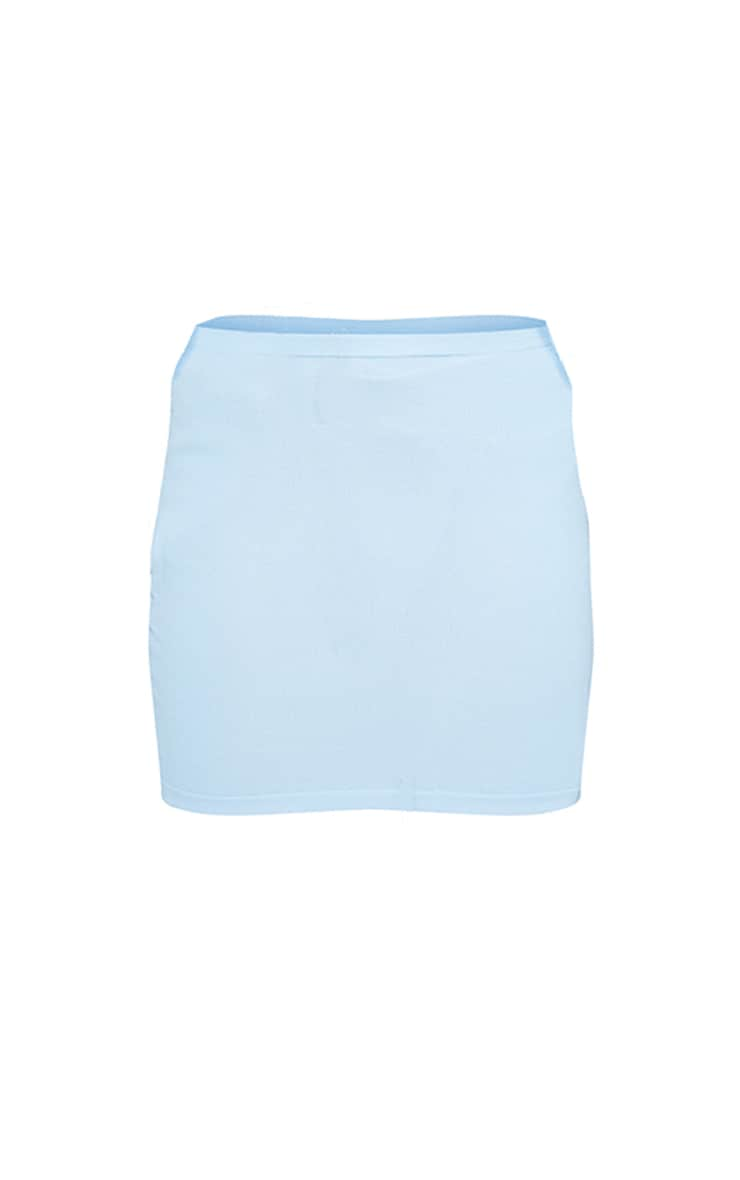 Plus Baby Blue Knitted Mini Skirt 5