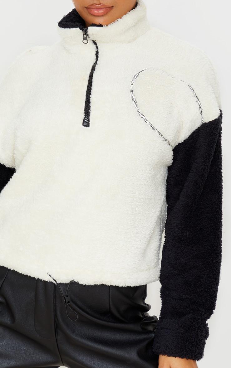 Black Borg Contrast Crop Zip Sweater 5